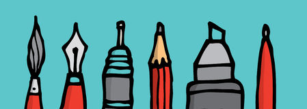 writing-instruments-tips-cartoon-illustration-five-different-42302809